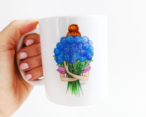 Semi-Custom Hydrangea Top Knot Fashion Illustration Mug