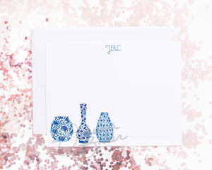 Blue Vases Flat Note Card Set