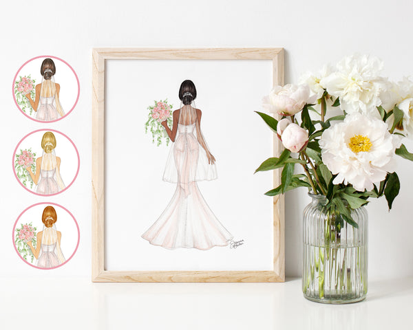 Blushing Bride Fashion Illustration Art Print