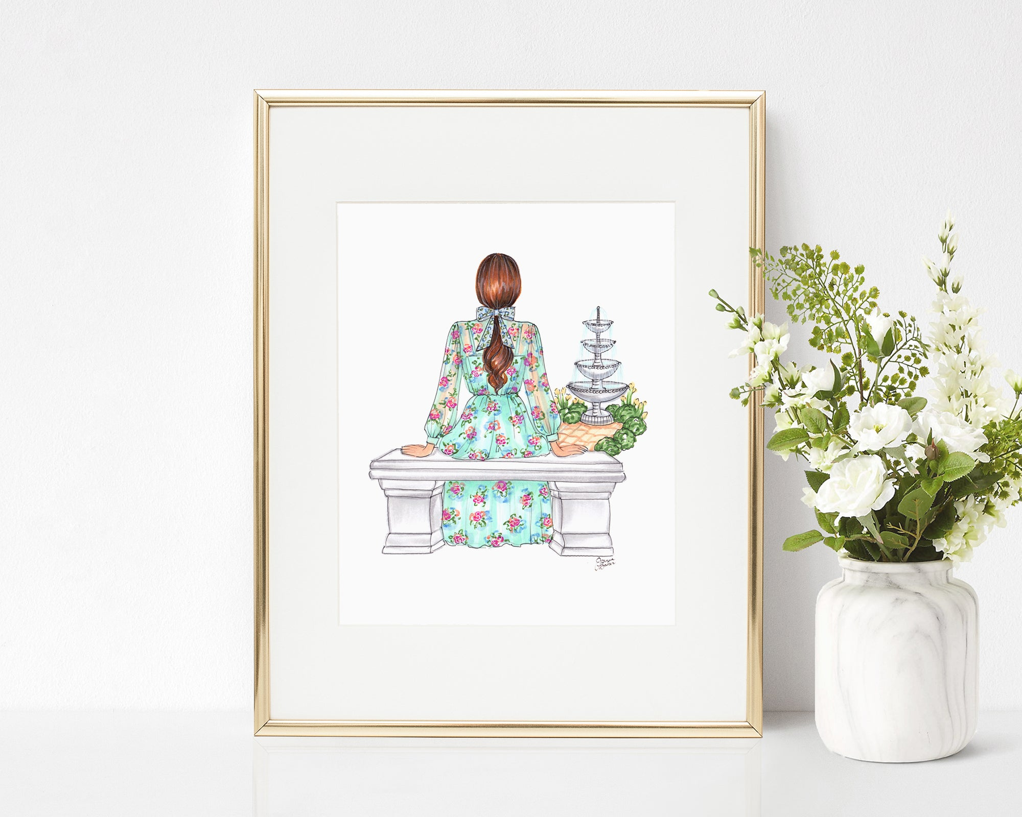 Botanical Garden Fashion Illustration Art Print