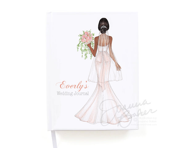 Blushing Bride Personalized Wedding Journal / Note Book / Guestbook