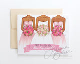 Semi-Custom Will You Be My Bridesmaid? Folded Note Card - Single Card