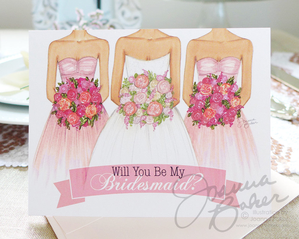 Will You Be My Bridesmaid Personalized Folded Note Card