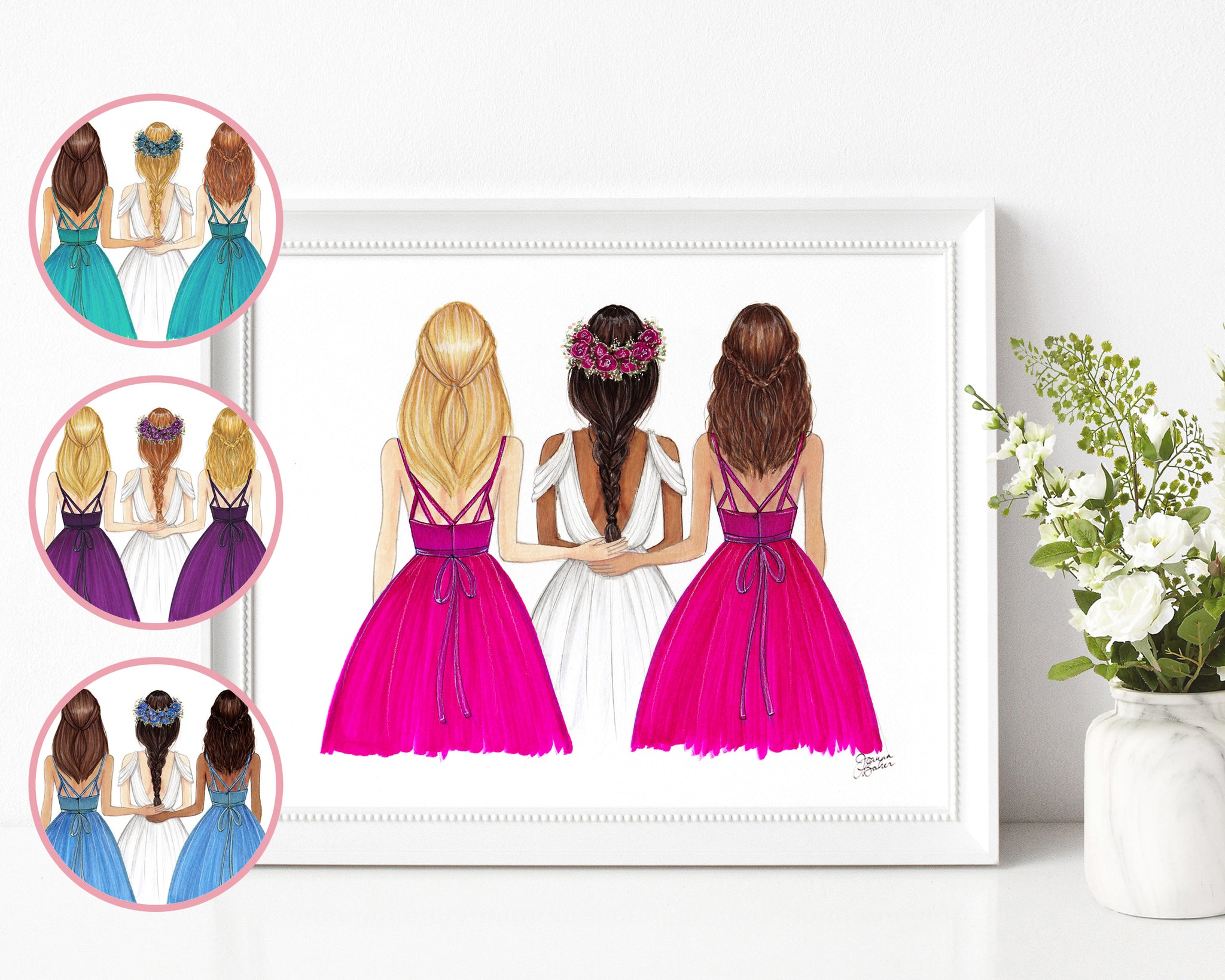 Colorful Bridesmaids Wedding Fashion Illustration Art Print