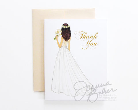Semi-Custom Bride Thank You Folded Note Card - Single Card