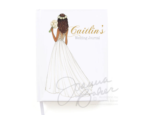 Flower Crown Bride Personalized Wedding Journal / Note Book / Guestbook