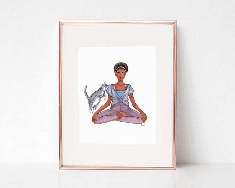 Cat Yoga Fashion Illustration Art Print