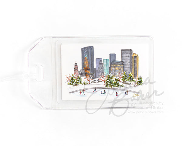 Central Park Ice Skating NYC Luggage Tag