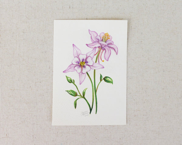 """Delicate Columbine"" an Original Watercolor Painting"
