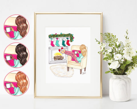 Cozy Christmas Fashion Illustration Art Print