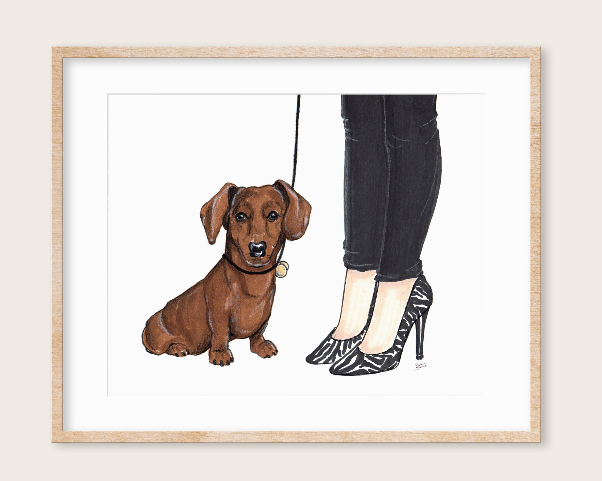 Winston the Dachshund Art Print