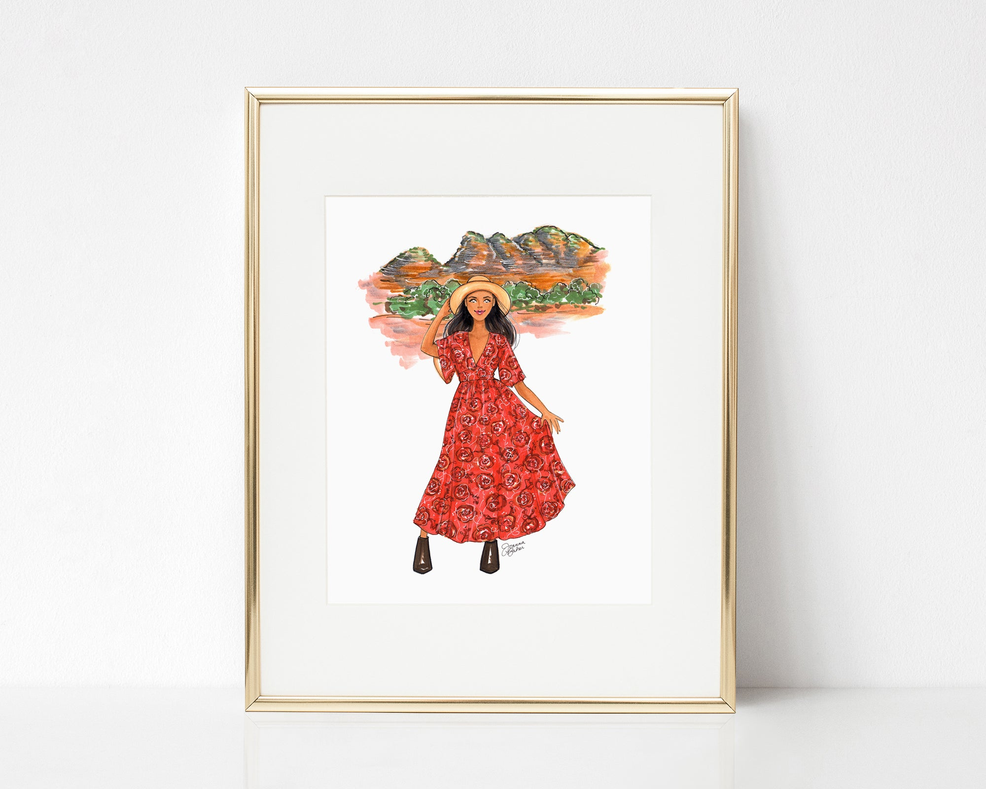Desert Road Trip Fashion Illustration Art Print