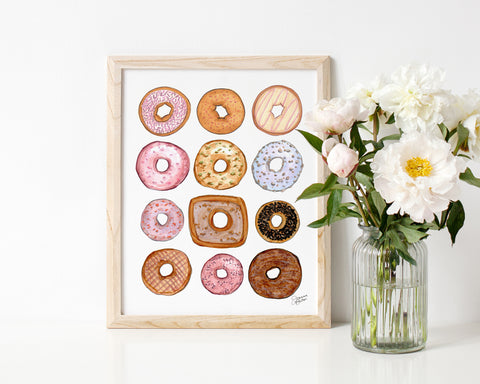 Happy Donuts Illustrated Art Print