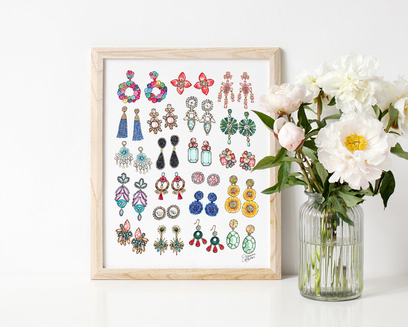 All The Earrings Fashion Illustration Art Print