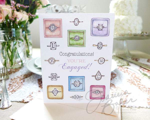Engagement Bling Folded Note Card