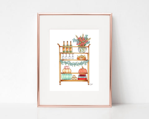 Autumn Harvest Bar Cart Illustration Art Print