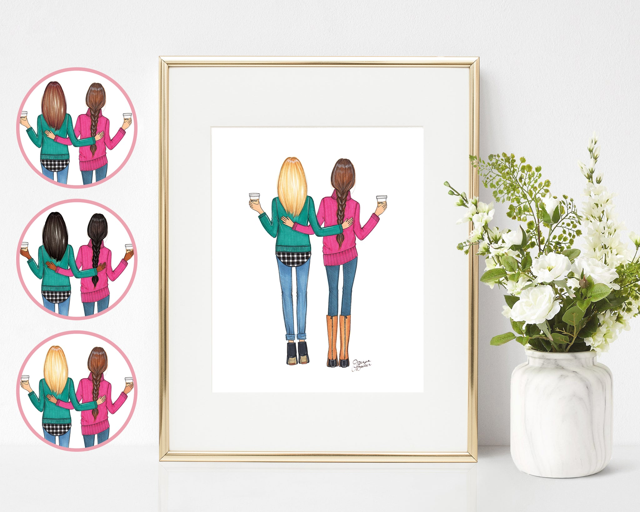 Fall Besties Fashion Illustration Art Print