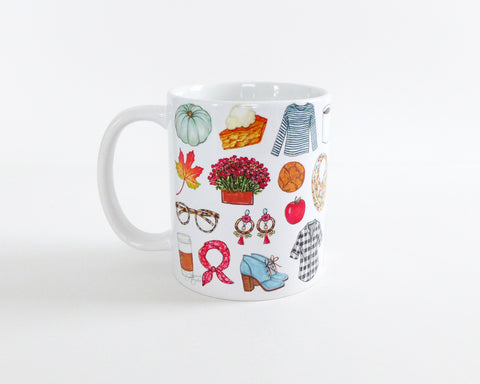 Fall Favorite Things Fashion Illustration Mug