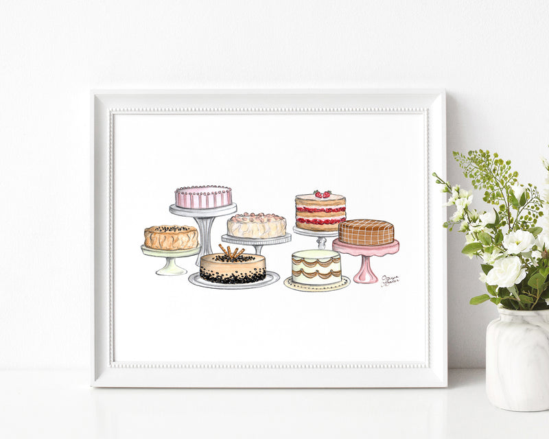 Fancy Cakes Illustration Art Print