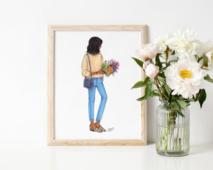 Farmer's Market Weekend Fashion Illustration Art Print
