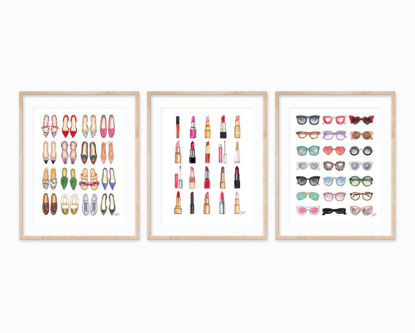 Set of 3 Favorite Things Fashion Illustration Art Prints