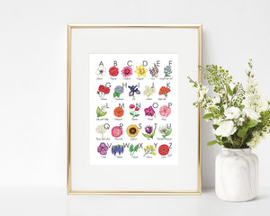 Floral Illustrated Alphabet Art Print