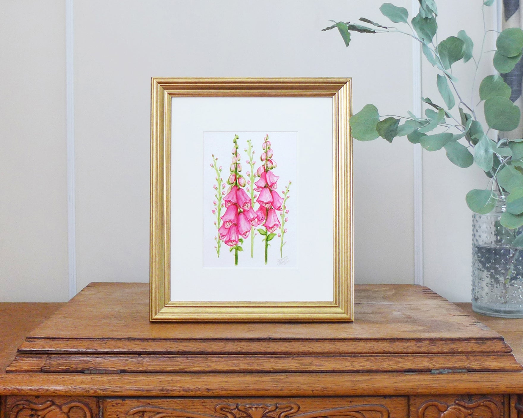 """Bright Pink Foxglove"" an Original Watercolor Painting"