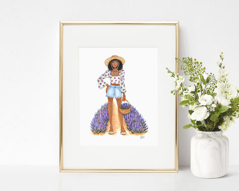 French Lavender Fashion Illustration Art Print