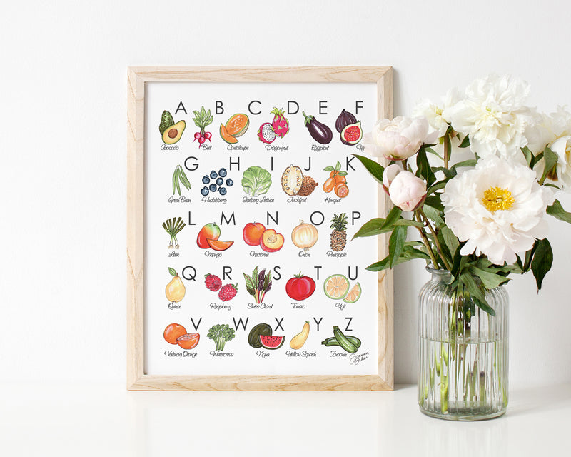 Fruit & Veggie Illustrated Alphabet Art Print