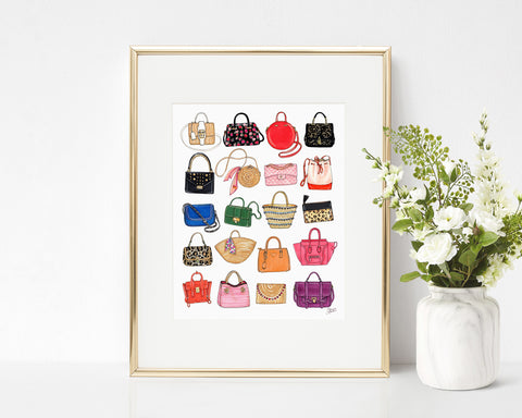 All The Bags Fashion Illustration Art Print
