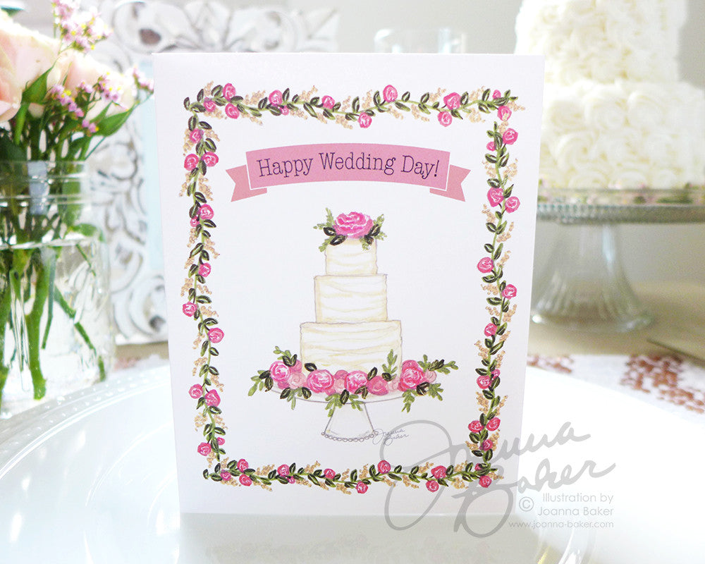 Happy Wedding Day Folded Note Card
