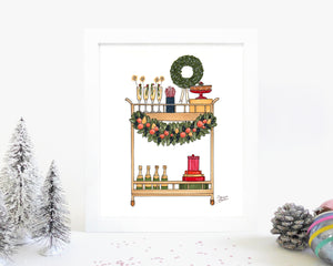 Festive Bar Cart Illustration Art Print