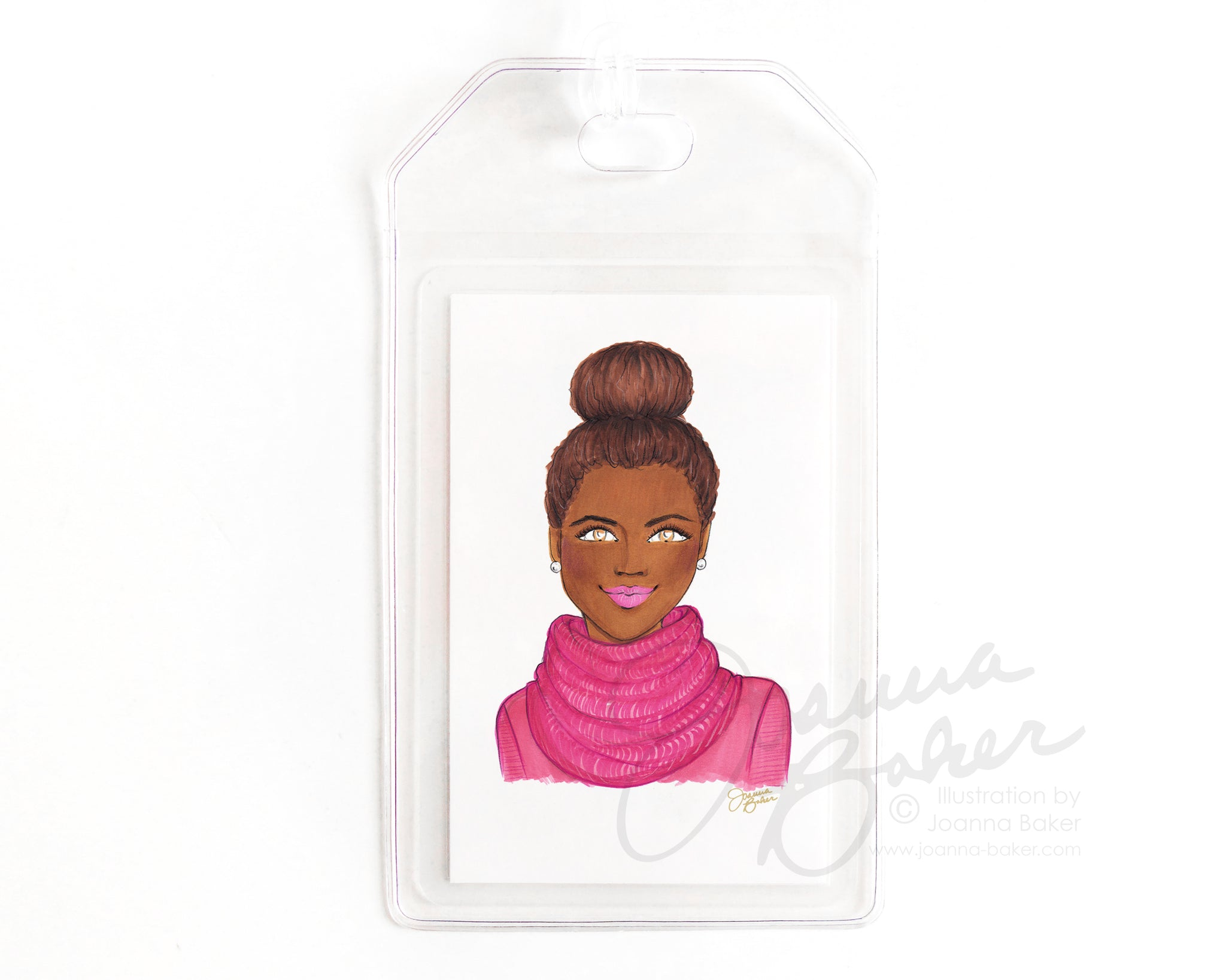 Pink Top Knot Luggage Tag