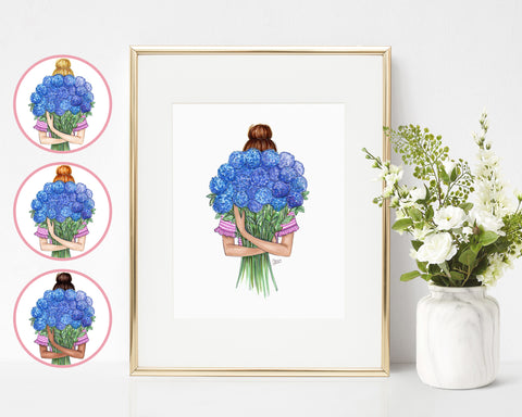 Hydrangea Top Knot Fashion Illustration Art Print