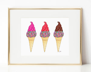 Ice Cream Trio Illustration Art Print