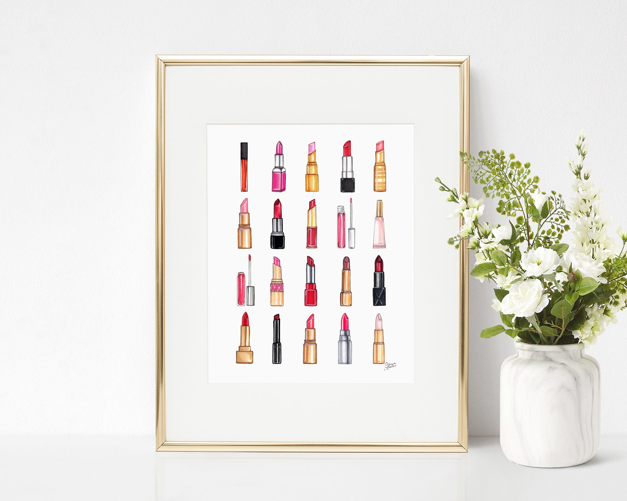 All The Lipstick Beauty Illustration Art Print