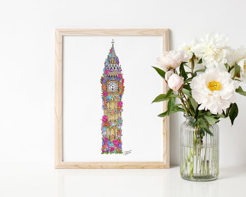London Flowers Illustration Art Print