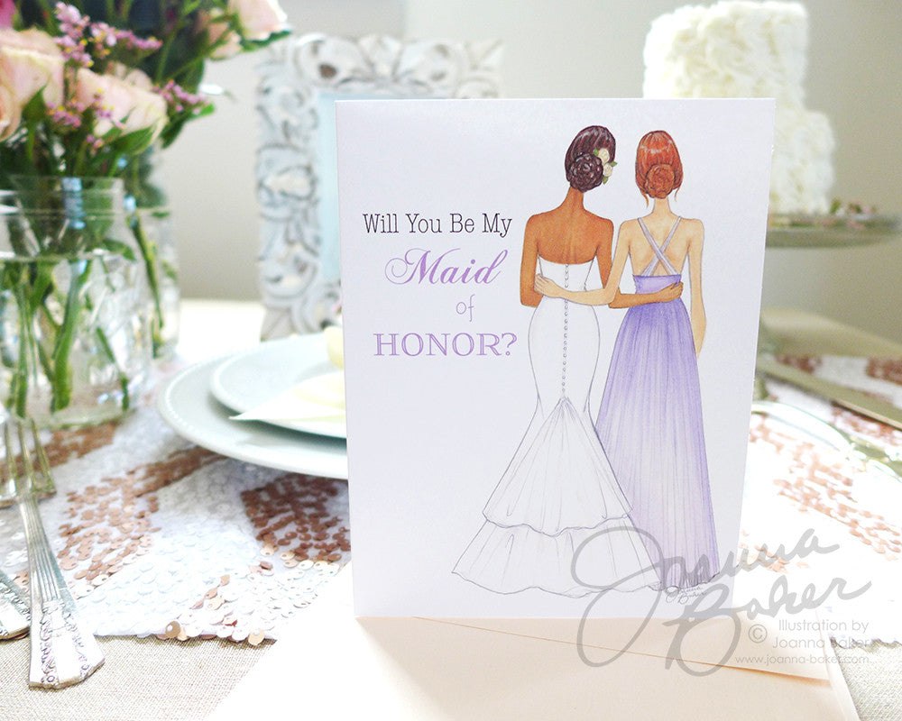 Semi-Custom Will You Be My Maid of Honor? Folded Note Card - Single Card