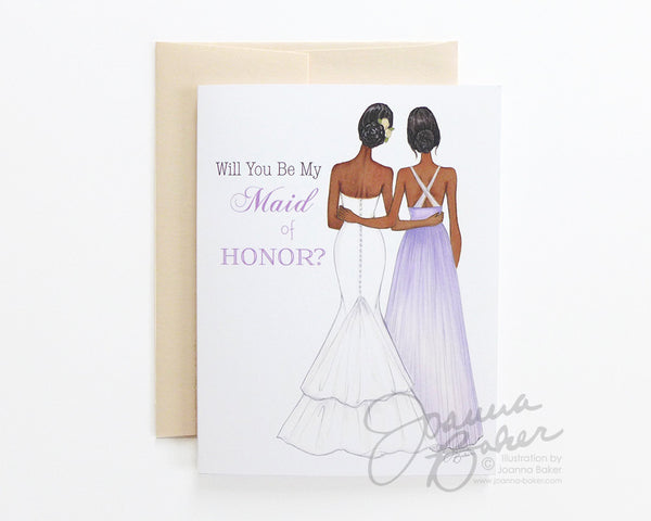 Will You Be My Maid of Honor Personalized Folded Note Card