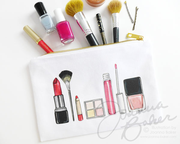 Makeup Illustration Canvas Zippered Pouch
