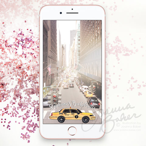 Personalized NYC Weekend Bachelorette Illustrated Snapchat Geofilter