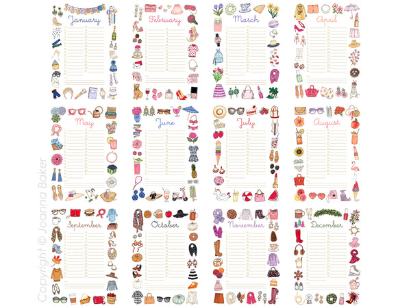 Perpetual Favorite Things Illustrated Monthly Wall Calendar