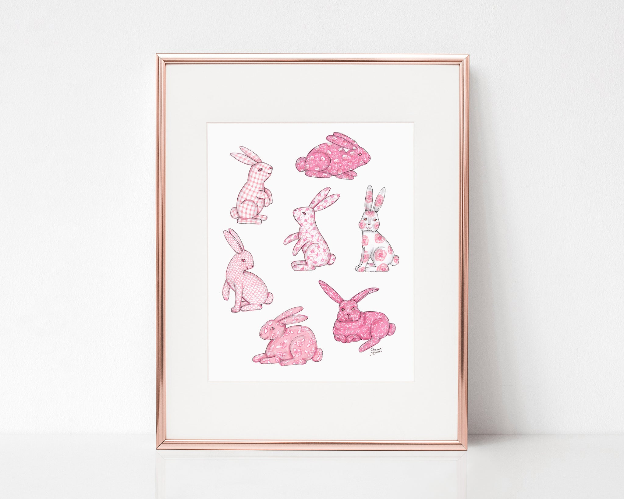 Pink Chinoiserie Bunny Art Print