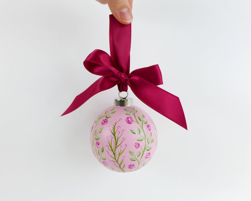 Pink Climbing Roses Heirloom Ornament