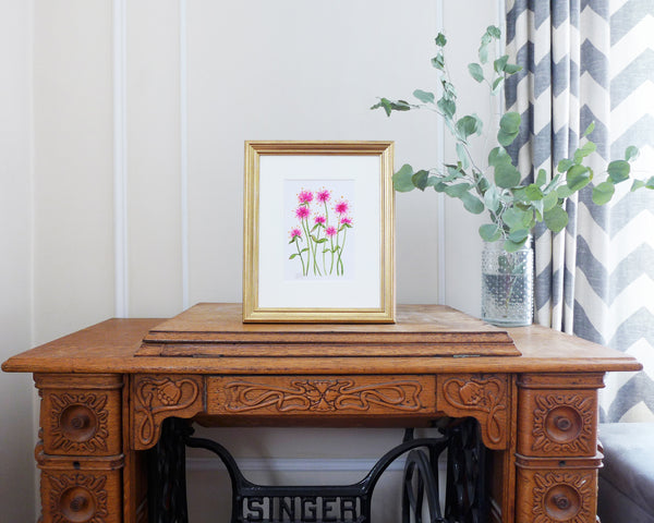 """Pink Gomphrena"" an Original Watercolor Painting"