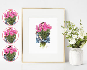 Stripes & Peonies Fashion Illustration Art Print