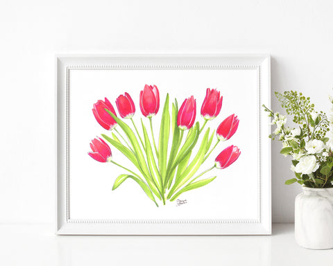 Spring Tulips Illustration Art Print