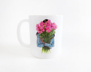 Semi-Custom Stripes & Peonies Fashion Illustration Mug