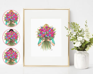 Rainbow Blooms Fashion Illustration Art Print