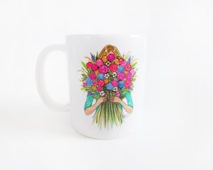 Semi-Custom Rainbow Blooms Fashion Illustration Mug